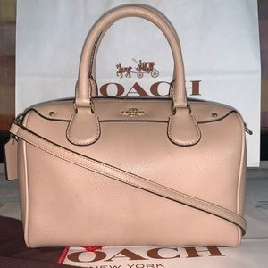 Coach beige cross grain leather  bag
